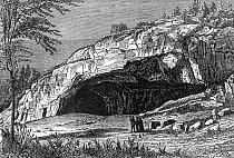 Historická rytina zachycující jeskyni