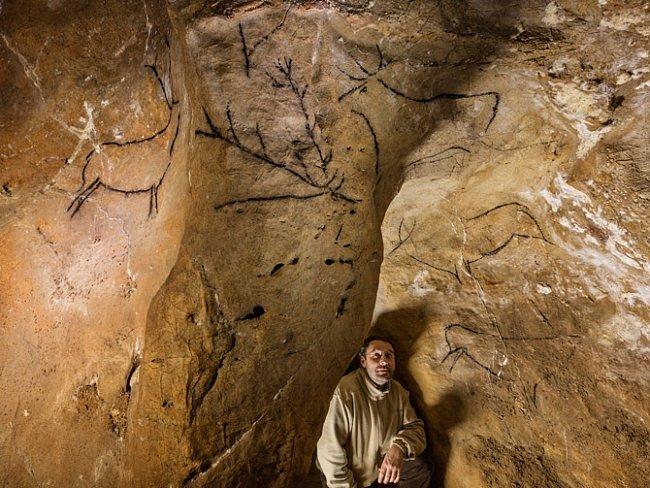 Umělci mladší doby kamenné většinou zobrazovali býložravce, ale umělci zChauvetovy jeskyně často zachycovali líté dravce, jako jsou šelmy vyobrazené na tomto velkém výjevu.