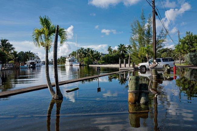 Při abnormálně vysokém přílivu – zaneobvyklého seřazení Země, Měsíce aSlunce – splývá kanál veFort Lauderdale se slepou ulicí. Tento abnormální příliv zříjna 2014, který byl o30 cm vyšší než běžný příliv, ukazuje, jak bude vypadat nový normál.
