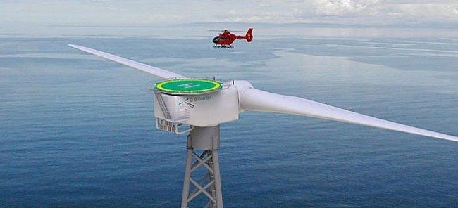 Monstrózní větrná elektrárna má vlastní heliport