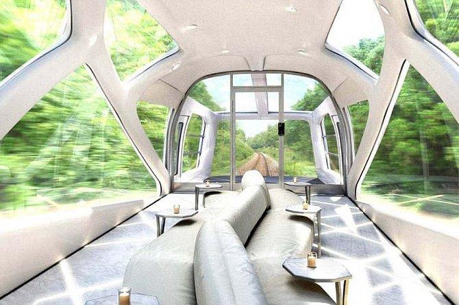 Ve vlaku najdete kromě luxusní restaurace i observatoř.
