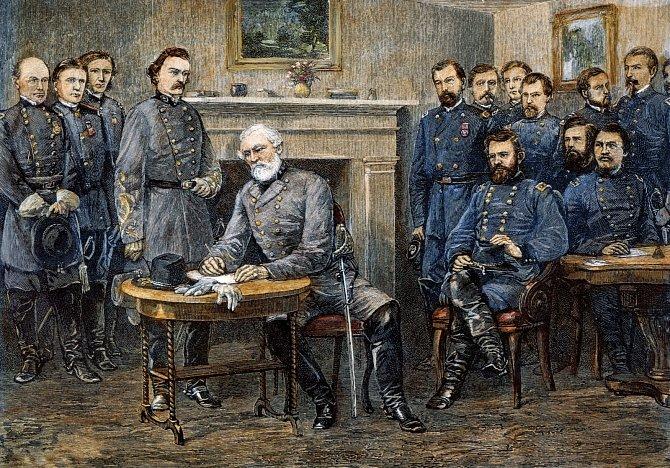 Generál Lee podepisuje kapitulaci Jihu