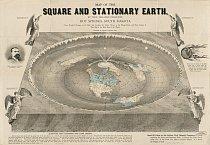 Alternativní geografie přetrvávaly dokonce ipoté, kdy se plavby kolem světa staly běžné. Tato mapa zroku 1893 vytvořená Orlandem Fergusonem, obchodníkem zJižní Dakoty, je výstřední variací domněnek z19. století, že je Země placatá.