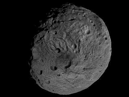 Krátery u jižního pólu mohly vzniknout buď dopadem asteroidů anebo působením vnitřních sil planetky.