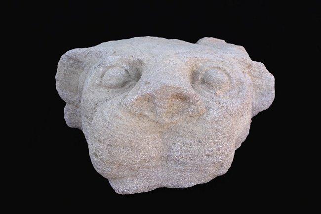 Chrlič v podobě lví hlavy objevený archeologickou expedicí Národního muzea.