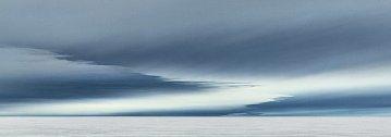 Panorama  ukazuje, co nastane, když je mrazivý vzduch vytlačen silným větrem nad ledovou pokrývku.