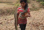 Dívka se svým jedovatým úlovkem