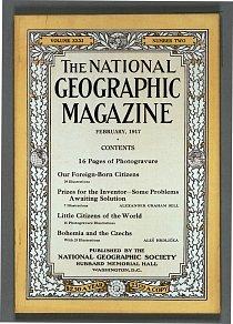 Obálka časopisu National Geographic z února 1917. Vyšel zde první příspěvek o českých zemích.