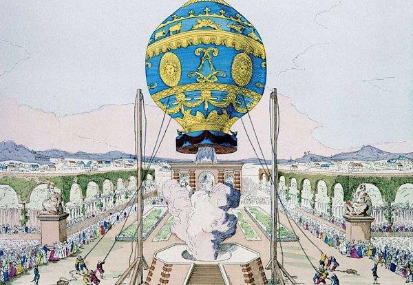 Dobová kresba zobrazující vypuštění balonu