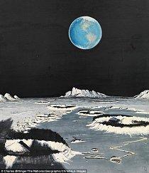 Ilustrace z roku 1969 - Země zachycená z Měsíce od Charlese Bittingera.