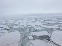 Těsně u kontinentu si musí prorazit cestu až 6metrovým mocným ledem.