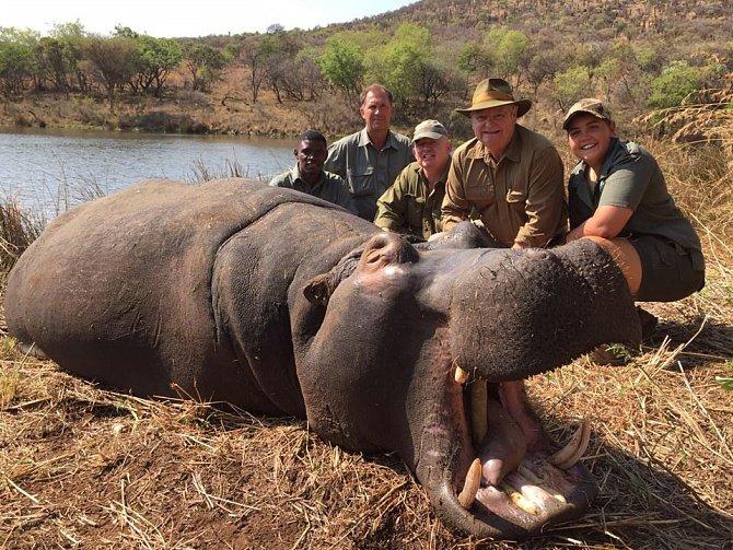 Skupina lovců se na Facebooku chlubí zabitým hrochem.