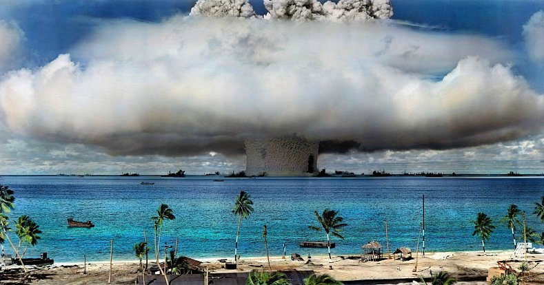 Testování účinků radiace na atolu Bikiny