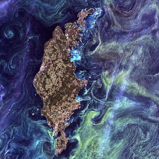 1. místo: Gotland (13. červenec 2005)   Ve vodách kolem švédského ostrova Gotland se před sedmi roky vyskytla vysoká koncentrace zeleného planktonu. Baltský ostrov tehdy vypadal tak neskutečně, že fot