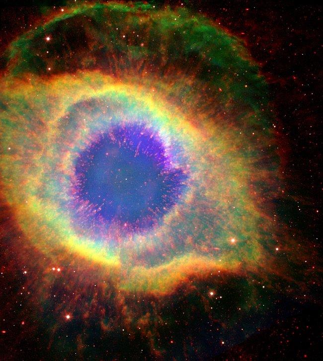 Hvězda neumírá bez povyku. Chrlí horké plyny a ultrafialové záření .