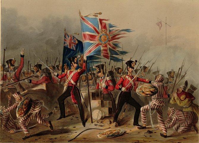 První bitva 1.opiové války na dobovém obrázku