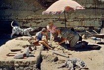 Na této fotografii National Geographic z roku 1961 se slavný paleoantropolog Louis Leakey spolu s rodinou dívá v Olduvai Gorge v Tanzanii na pozůstatky dávného hominida.