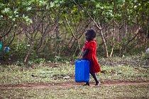 Pro vodu chodí často i malé děti. Kdo má ruce, pomáhá.