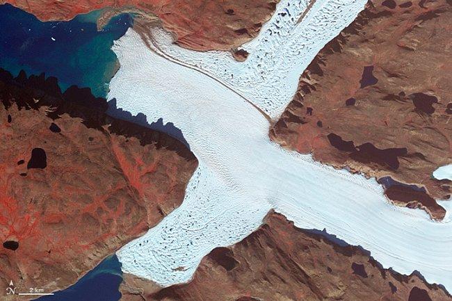 Písmeno X – Severozápadní část ledovce Leidy v Grónsku
