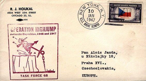 Obálka dopisu odeslaného během operace  High Jump z lodi  Mount Olympus -  vlajkové lodi celé operace.