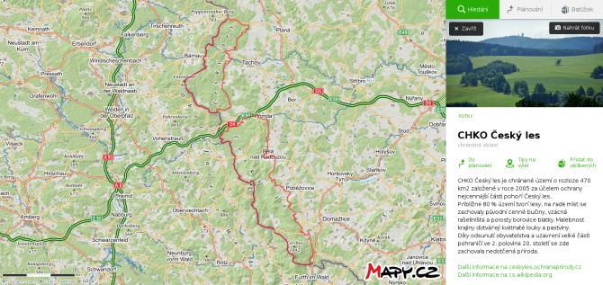 mapa CHKO Český les
