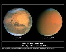 Prachová bouře na Marsu v roce 2001.