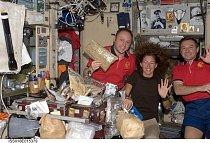 Velitel Expedice Michael Fincke a letoví inženýři Sandra Magnus a Yury Lonchakov si chystají vesmírné vánoční menu. (2008)