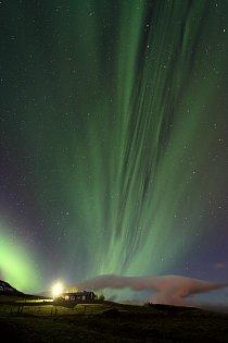 Aurora Borealis u města Laugavatn