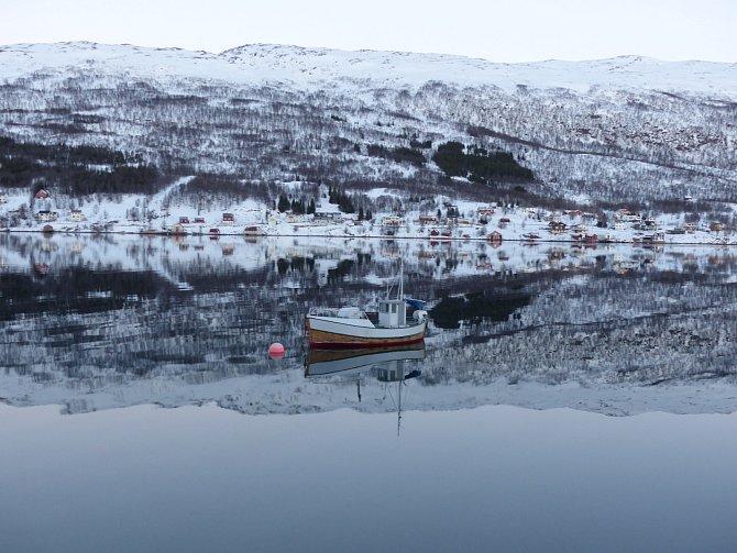 Kvaløya (Velrybí ostrov) severně od města Tromsø v Norsku, kam v zimě připlouvají velryby lovit plankton, duben 2016, Norsko.