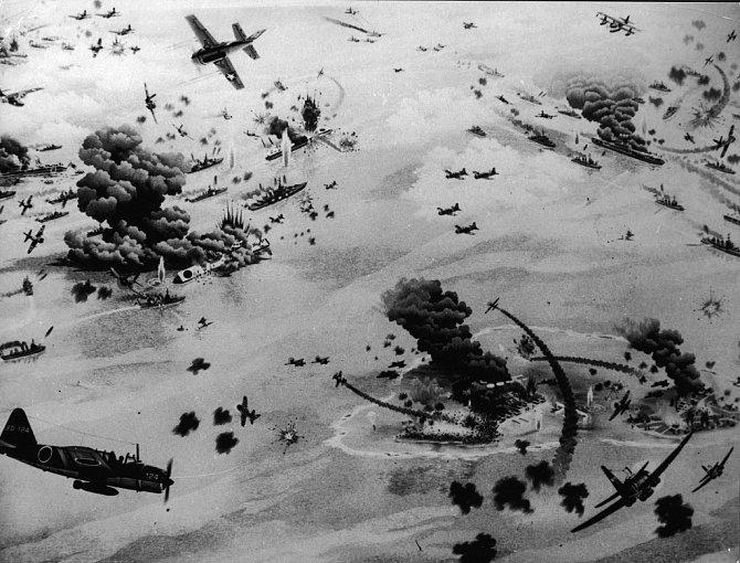 Letecký snímek bitvy u Midway