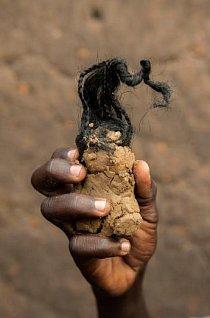 Třináctiletý Simon Ayole přilepil na hlavu své hliněné panenky chumáče spletených vlasů.