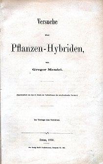 První strana Mendelova separátu práce Pokusy s hybridy rostlin.