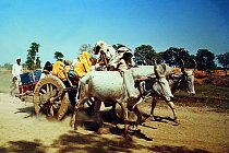 Indičtí kočovníci s tradičním vozem, Karnátaka (Indie), 1963.