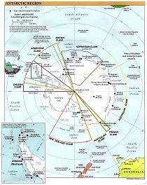 Antarktida rozčleněná podle sfér zájmů. V mnoha případech se zájmové oblasti jednotlivých států překrývaly a postupně začínalo být jasné,  že jednostranným vyhlašováním  územních nároků se k dohodě o