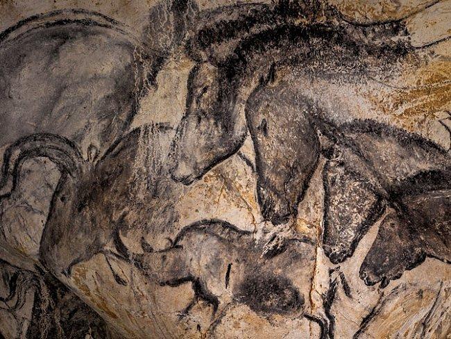"""Malby koní a další úžasné výtvory vChauvetově jeskyni byly objeveny vroce 1994. Jsou """"pozoruhodným dokladem prvního setkání člověka sdobrodružstvím umění"""", říká francouzská ministryně kultury Fleur Pellerinová."""