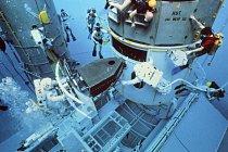 Zkouška opravy Hubbleova vesmírného dalekohledu probíhala ve vodě. Astronauti Kathy Thornton a Tom Akers během tréninku na let za účelem opravy poškozené kamery (1993).
