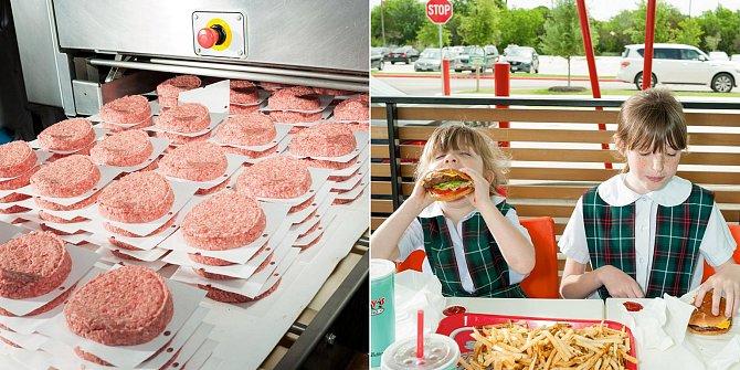 Stroj na tvarování mletého masa vzávodě Caviness Beef Packers vtexaském Amarillu připraví 24000dvousetgramových hamburgerů za hodinu. Kdyby si Isabella Bartolová (vpravo) mohla vybrat, jedla by burgery každý den.