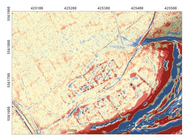 Snímek leteckého laserového skenování zaniklé středověké vsi Svídna.