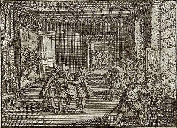Dobová mědirytina zachycující pražskou defenestraci