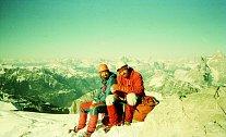Josef Rakoncaj a Jaromír Stejskal Monte Agner, 2 872 m, severní stěna, 1 600 m, první zimní výstup Messner Route, Dolomity 1980