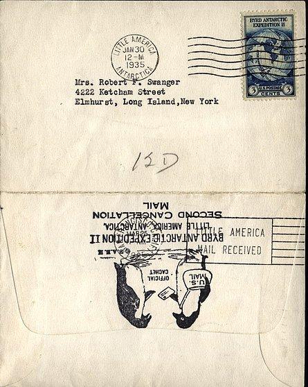 Dopisní obálka z druhé Byrdovy antarktické expedice s logem a speciální známkou.