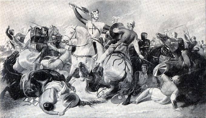 """Richard I. """"Lví srdce"""" kosí musulmany svou oblíbenou zbraní."""