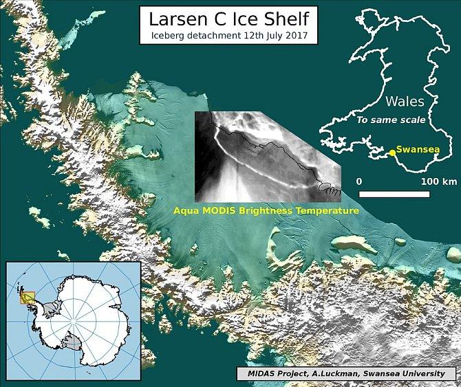 Obrázek z12. července, který dokazuje odtržení ledovce Larsen C.