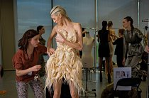 Modelka Devon Windsorová se připravuje vyjít na předváděcí molo při přehlídce Ready to Wear vpařížském Cité de la Mode et du Design. Její oděv, na kterém spolupracovala módní návrhářka sarchitektkou, byl vyroben na 3D tiskárně.
