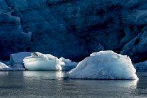 Plovoucí kry ledu na řece Akuliarusiarsuup Kuua.