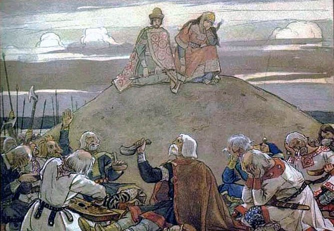 Takto si vroce 1899oředstavoval Viktor Vasnetsov kurganský pohřeb.