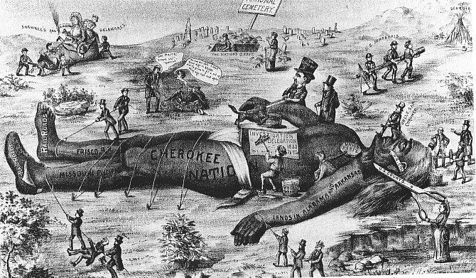 Idobové karikatury hodnotily Indian Removal Act jednoznačně.