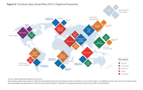 Mapa zachycuje jak odlišné jsou obavy a vnímání rizik vjednotlivých částech světa.