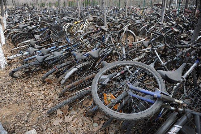 Na univerzitě v čínském suprovinčním městě Ťi-nan se hromadí kola, která tu nechali studenti po dokončení vysoké.