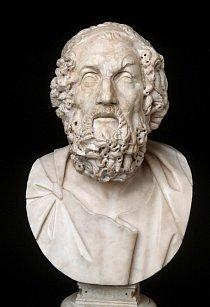 Busta nejstaršího řeckého básníka Homéra, jemuž se připisuje sepsání epických básní Ilias a Odysseia.
